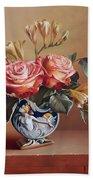 Roses In China Vase Beach Towel