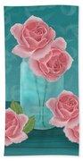 Roses In Clear Blue Jar Beach Towel