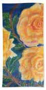Roses In Yellow Beach Towel