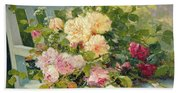 Roses On The Bench  Beach Towel