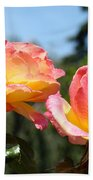 Roses Yellow Roses Pink Summer Roses 4 Blue Sky Landscape Baslee Troutman Beach Sheet