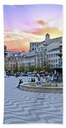 Rossio Square In Lisbon Portugal At Sunset Beach Towel