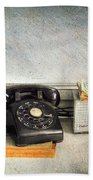Rotary Dial Phone In Black S And H Stamps Beach Towel
