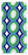 Round And Round Blue And Green- Art By Linda Woods Beach Towel