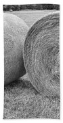 Round Hay Bales Black And White  Beach Towel by James BO  Insogna