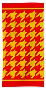 Rounded Houndstooth With Border In Mustard Beach Towel