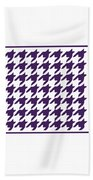Rounded Houndstooth With Border In Purple Beach Towel