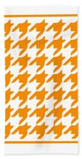 Rounded Houndstooth With Border In Tangerine Beach Towel