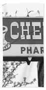 Route 66 - Chenoa Pharmacy Bw Beach Towel