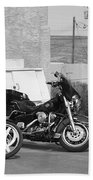 Route 66 Motorcycles Bw Beach Towel