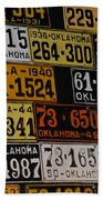 Route 66 Oklahoma Car Tags Beach Towel