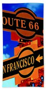 Route 66 Street Sign Stylized Colors Beach Towel