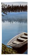Row Boat In The Fog Beach Towel