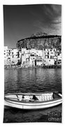 Rowboat Along An Idyllic Sicilian Village. Beach Towel