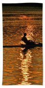 Rowing At Sunset 3 Beach Towel