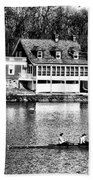 Rowing Past Turtle Rock Light House In Black And White Beach Towel