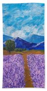 Rows Of Lavender In Provence Beach Towel