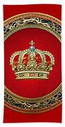 Royal Crown In Gold On Red  Beach Towel