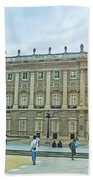 Royal Palace In Madrid In A Beautiful Summer Day, Spain Beach Towel