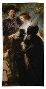 Rubens His Wife Helena Fourment 16141673 And Their Son Frans 16331678 Beach Towel
