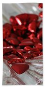 Ruby Red Hearts And Crystal Beach Towel
