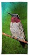 Ruby Throated Hummingbird Beach Towel