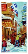 Rue St Paul Montreal Streetscene Cafes And Caleche Beach Towel