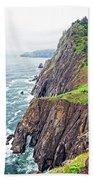 Rugged Oregon Coast On A Foggy Day Beach Sheet