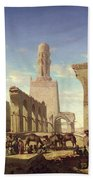 Ruins Of The Mosque Of The Caliph El Haken In Cairo Beach Towel by Prosper Georges Antoine Marilhat