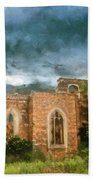 Ruins Under Stormy Clouds Beach Towel