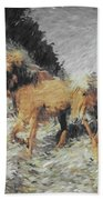 Running Horses Beach Towel