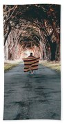 Running In The Forest Beach Towel