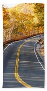 Rural Road Running Along The Maple Trees In Autumn 2 Beach Towel