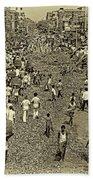 Rush Hour - Antique Sepia Beach Sheet