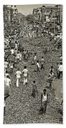 Rush Hour - Sepia Beach Towel