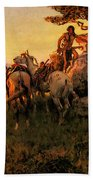 Russell Charles Marion Watching For Wagons Beach Towel