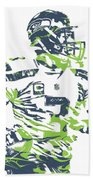 Russell Wilson Seattle Seahawks Pixel Art 10 Beach Towel