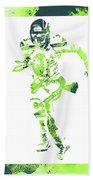 Russell Wilson Seattle Seahawks Water Color Art 1 Beach Towel