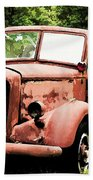 Rusted Mack Fire Engine Beach Towel