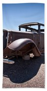 Rusted Old Car On Route 66 Beach Towel