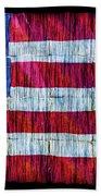 Rustic American Flag Beach Towel