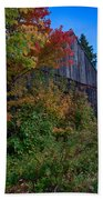 Rustic Barn Above The Fall Colors Beach Towel
