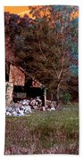 Rustic Barn In Disrepair False Color Infrared Beach Towel
