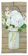 Rustic Country White Hydrangea N Matillija Poppy Mason Jar Bouquet On Wooden Fence Beach Sheet