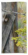 Rustic Fence And Wild Flowers Montana Beach Towel