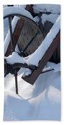 Rustic Wheel In The Snow#2 Beach Towel