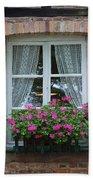 Rustic Window And Red Bricks Wall Beach Towel