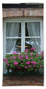 Rustic Window And Red Bricks Wall Beach Sheet by Yair Karelic