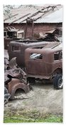 Rusting Antique Cars Beach Towel