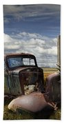 Rusty Auto Wreck Out West Beach Towel
